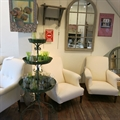 Flower stand, Artichoke painting, french mirror with our Percy chairs