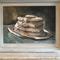 'Le Chapeau'. The Hat. Oil on board, framed.